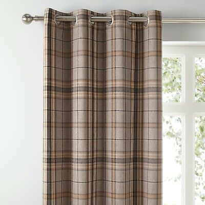"""£64.99 • Buy Melrose Natural Check Lined Eyelet Curtains Dunelm Mill 90x54"""" 228x137cm"""