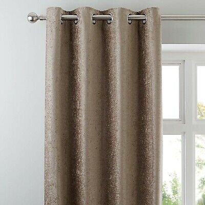 £69.99 • Buy Taupe Chenille Lined Eyelet Curtains Dunelm Mill Luxury 117x228cm 46x90
