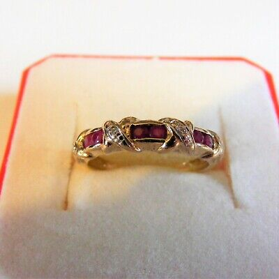 £145 • Buy Lovely Ruby And Diamond Half Eternity Ring Set In 9 Carat Gold. Finger Size L.