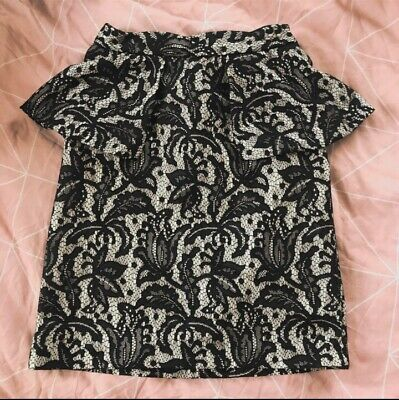 £10 • Buy Preloved Topshop Black And White Floral Peplum Skirt Size 6