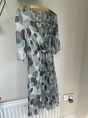 £14 • Buy PHASE EIGHT 100% Silk Sheer Dress Sequin Green & Blue Size 8 Beach Cover Up