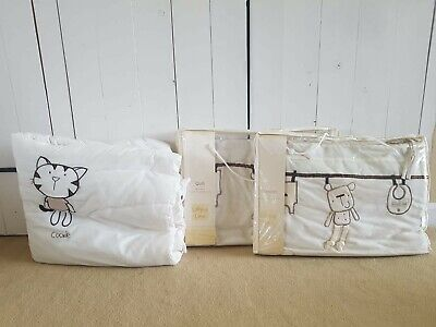 £10 • Buy Lollipop Lane 'Out To Dry' Teddy Bear Cot Bumper, Coverlet & Warm Quilt, Neutral