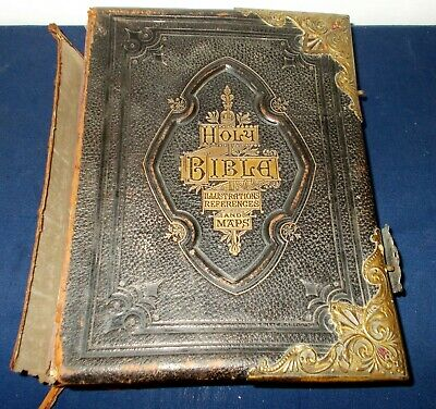 £75 • Buy Large Antique Illustrated Holy Family Bible Leather With Brass Fittings & Hinges