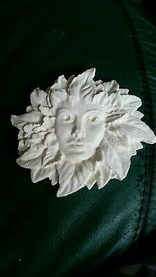 £5 • Buy Green Man Face Plaque Pagan Lady Of The Woods Decorative Acorn Leaf Ornament