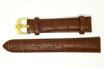 £24.99 • Buy New 18mm Brown Genuine Leather Watch Strap Gold Plated / Silver Buckle For Omega