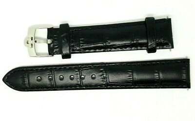 £24.99 • Buy New 18mm Black Genuine Leather Watch Strap Gold Plated / Silver Buckle For Omega