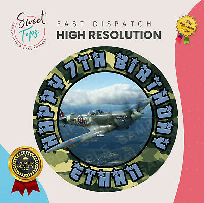£6.49 • Buy Spitfire Plane Round Edible Birthday Cake Topper Decoration Personalised