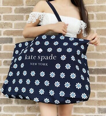 $ CDN47.37 • Buy NEW Kate Spade Navy Blue White Daisy Logo Extra Large Canvas Tote Bag Floral