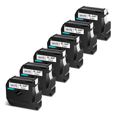 $12.80 • Buy 6PK 12mm For Brother P-touch PT-100/110 Label M-K231 M-231 Black On White Tape