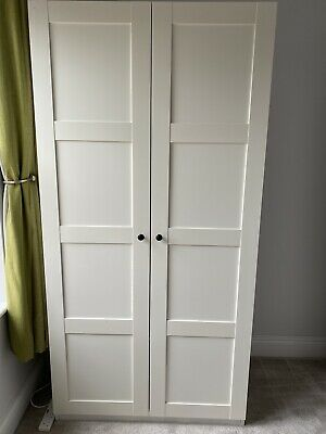£14.80 • Buy Ikea Pax Wardrobe White With Doors 2 Drawers 1 Shelf Good Condition All Fixings