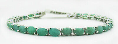 £0.70 • Buy GENUINE 18.64 Cts EMERALDS TENNIS BRACELET .925 Silver * NEW WITH TAG *