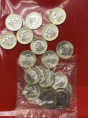 £33 • Buy £2 Shakespeare Tragedies Skull And Comedies Jester Sealed Bag Of 10 Coins