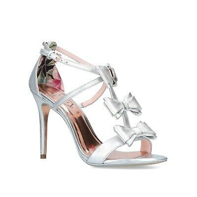£99.99 • Buy Ted Baker Silver Sandals Size UK 8 EU41 Wedding Party Bridal Stiletto Heel Shoes