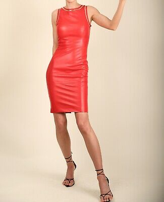 £80 • Buy Versace Sexy Red Leather Sleeveless Pic Body Con Cut Out Tank Mini Dress IT 38