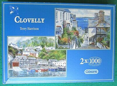 £4 • Buy GIBSONS 2 X 1000 PIECE JIGSAWS  CLOVELLY  By TERRY HARRISON