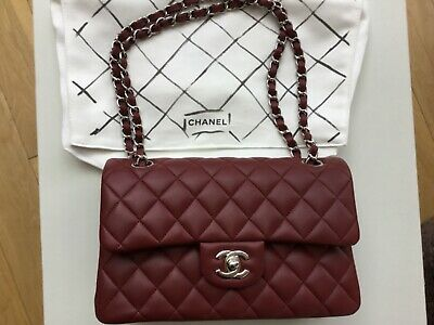 £4875 • Buy Chanel Small Burgundy Red Classic Flap Bag NEW With Receipt
