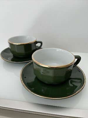 £19.99 • Buy 2  X  APILCO GREEN & GOLD LARGE COFFEE TEA CUPS AND SAUCERS FRENCH BISTRO WARE