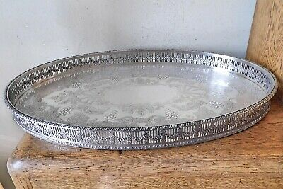 £1 • Buy SUPERB VINTAGE 1920-30s SHEFFIELD SILVER PLATED OVAL CHASED GALLERY SERVING TRAY