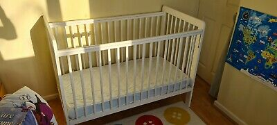 £20 • Buy John Lewis Eric Dropside Cot - Used Condition - White - 3 Position