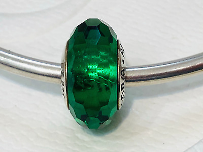 AU45 • Buy Authentic Pandora  Murano Glass Fascinating Green Faceted Charm 791619 Retired