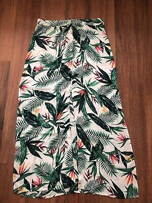 £8.99 • Buy V By Very Green Tropical Print Floral Side Splits Maxi Skirt Size UK 14