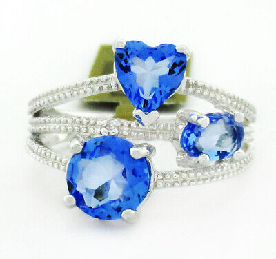 £0.92 • Buy TANZANITE & BLUE SAPPHIRES RING .925 Sterling Silver * NEW WITH TAG * Size 7