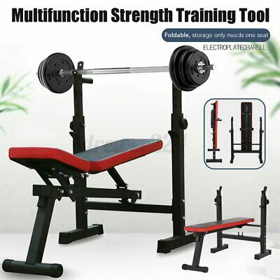 $ CDN418.19 • Buy Gym Adjustable Folding Squat Rack Strength Training Barbell With Weight