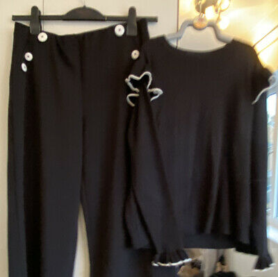 £15 • Buy 1940's Style Outfit Black & White Short Ankle Trousers & Sweater 14