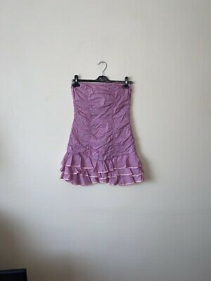 £20 • Buy Wal G Medium UK 10-12 Pink Lilac Bandeau Ruched Tiered Ruffle Sequin Mini Dress