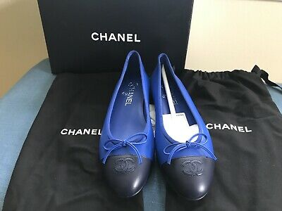£672.59 • Buy NWT Chanel Two Toned Black/Blue Ballerina Flats Size 39.5