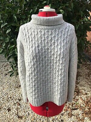 AU35 • Buy Country Road Grey Chunky Cable Wool Jumper Sz S M 10 12 14