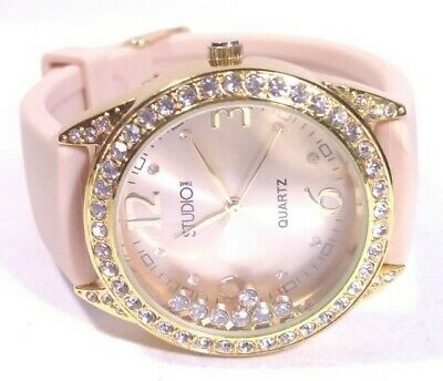 $ CDN12.74 • Buy Women Studio Watch Floating Crystals Rubber Band Gold Case Beige Face Easy Read