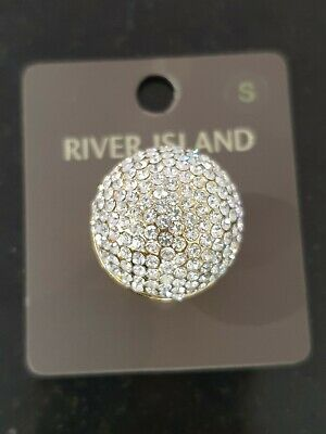 £2.95 • Buy River Island Diamonte Domed Gold Costume Jewellery RING SMALL