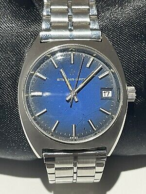 £99 • Buy Eterna Matic Vintage Swiss Automatic Watch Ref 125T Blue Precious Dial