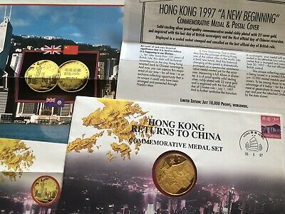 £160 • Buy HONG KONG RETURNS To CHINA COMMEMORATIVE MEDAL In STAMPED COVER DATED JUNE 1997
