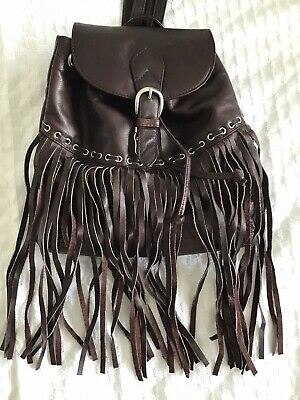 £10 • Buy Urban Outfitters Fringed Boho Brown Leather Bag / Little Rucksack