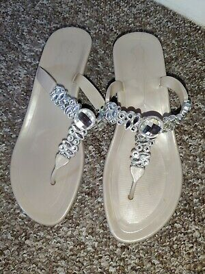 £15 • Buy Holster Sandals Beautiful With Crystals Nude Wedge Size 6