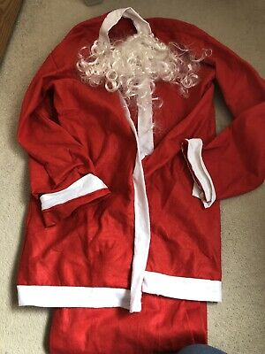 £2.49 • Buy Santa Claus Father Christmas Outfit Jacket Trousers & Beard Xmas Fancy Dress
