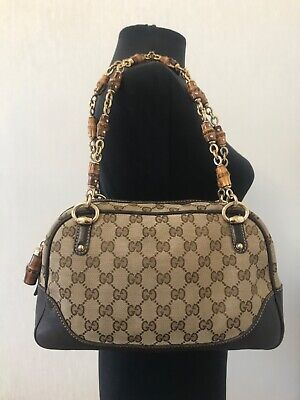 AU427.61 • Buy Authentic Gucci Guccissima Bamboo Textile Leather Small Tote Shoulder Bag