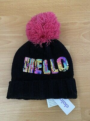 £4.99 • Buy Claires's Girls Sequin Black Bobble Hat One Size