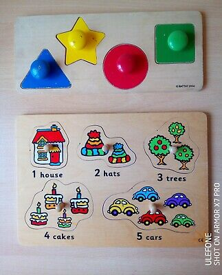 £2 • Buy Wooden Puzzle Bundle Numbers And Shapes