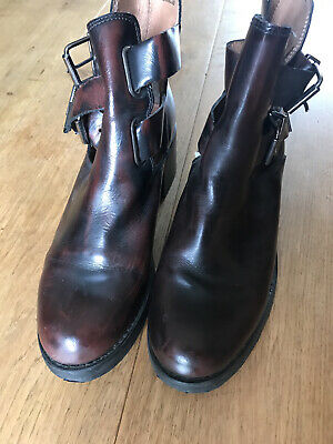 £4.30 • Buy Topshop Strappy Ankle Chelsea Boots Leather Brown Burgundy Red Size 7 EU 41