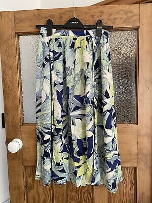 £10 • Buy Topshop Skirt, Size 8, Tropical Leaf Pattern, Blue And Green