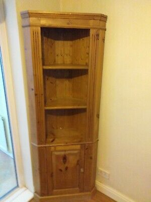 £50 • Buy Solid Pine Wood Tall Corner  Display Unit With Cupboard And Shelves.