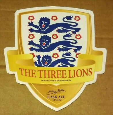 £1.40 • Buy Beer Pump Clip Badge Front TETLEY'S Brewery THE THREE LIONS Ale England Football