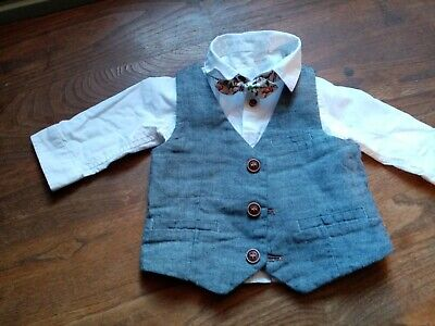 £2.50 • Buy Baby Boy Smart White Shirt, Grey Vest And Bow Tie, 3-6 Months, Next