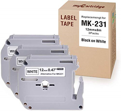 $13.25 • Buy MyCartridge Compatible With Brother Mk231 M-K231 M231 Label Tape 3 Pack Black On