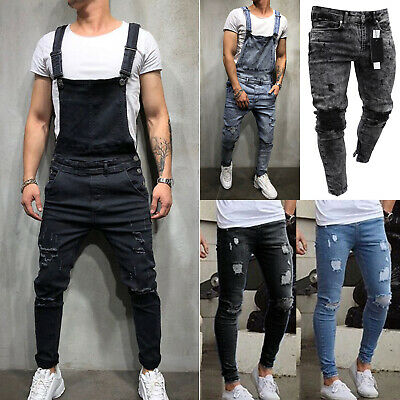 $45.97 • Buy Mens Stretchy Distressed Pants Ripped Denim Jean Jumpsuit Slim Fit Fray Trousers