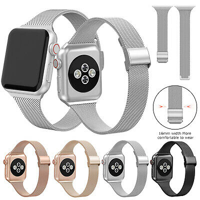 AU13.59 • Buy Slim Milanese Watch Band Strap For Apple IWatch Series 6 5 4 3 2 1 38 40 42 44mm