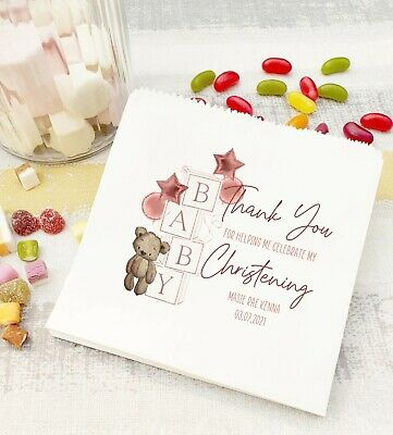 £6.25 • Buy Personalised Sweet Bags Christening Naming Day Baptism Favour Bags BABY BLOCK